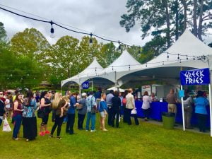 attendees waiting in line at Tallahassee's Greek Food Festival