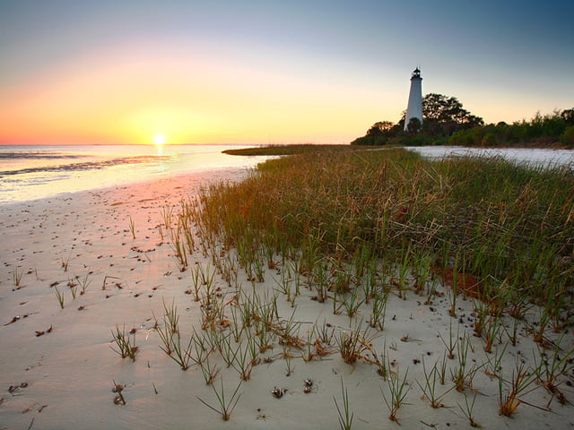 View of the lighthouse at St. Marks National Wildlife Refuge and beach, near Tallahassee, FL