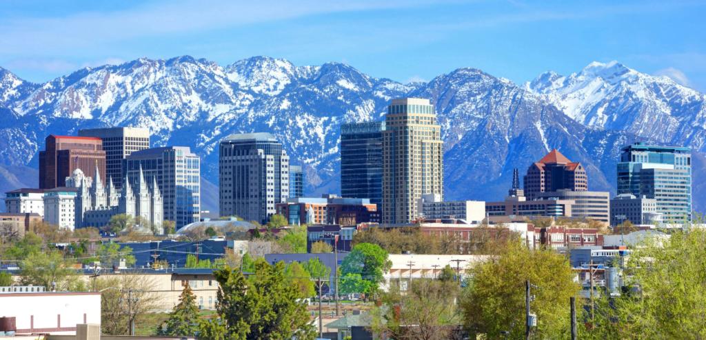 The Skyline and Mountains of Salt Lake City, Utah