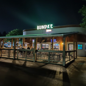 Grab a meal in their outdoor seating area at Bumpa's